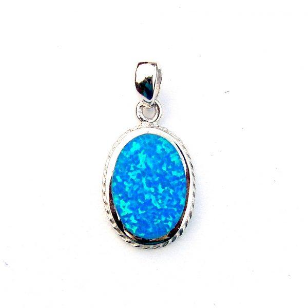 Beautiful Patterned Blue Opal Pendant