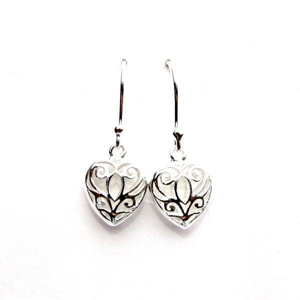 Stunning Silver Puff Heart Earrings