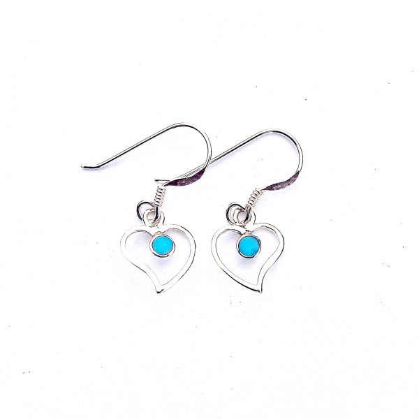 Pretty Dainty Turquoise Heart Earrings