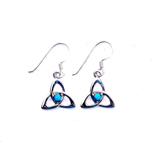 Pretty Turquoise Turquoise Goddess Triquetra Earrings