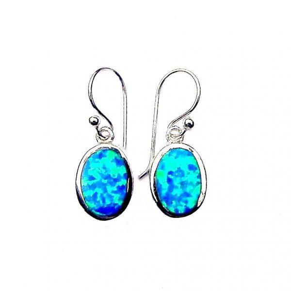 Stunning Blue Opal Oval Earrings c