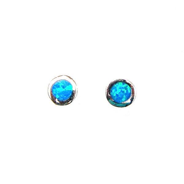 Stunning Dainty Blue Opal Round Studs
