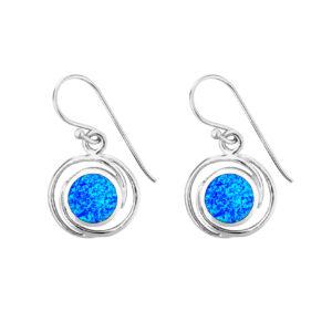Blue Opal Circles Earrings
