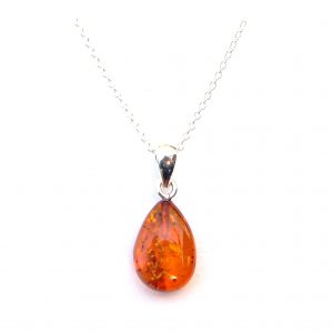 Dainty Amber Droplet Necklace