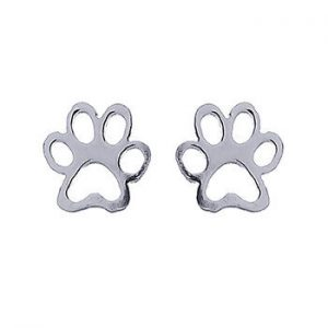 Lovely Silver Paw Studs