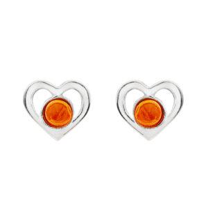 Pretty Amber Heart Studs