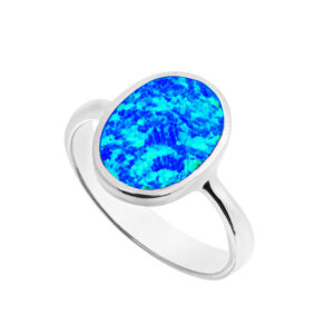 Blue Opal Large Oval Ring
