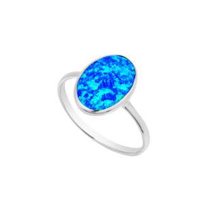 Pretty Blue Opal Oval Ring