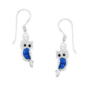 Pretty Sapphire Owl Earrings