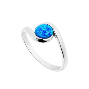 Blue Opal Round Swirl Ring