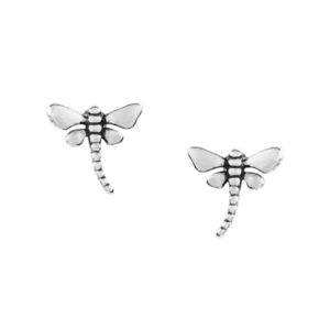 Pretty Silver Dragonfly Studs