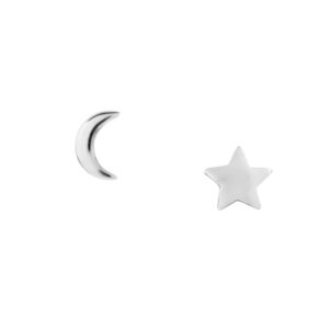 Pretty Silver Moon and Star Studs.