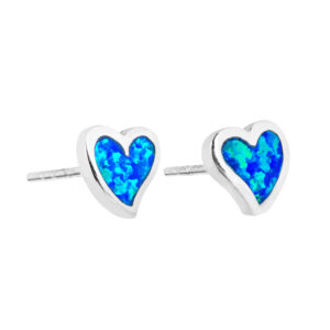 Blue Opal Heart Studs