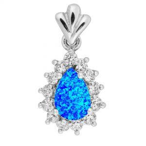 Teardrop Blue Opal Pendant